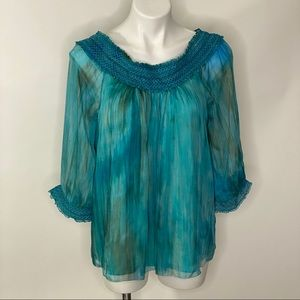 Alice + Olivia blue green Blouse sz M